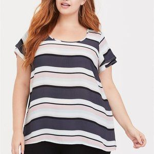 TORRID Striped Georgette Flutter Sleeve Boho  Top
